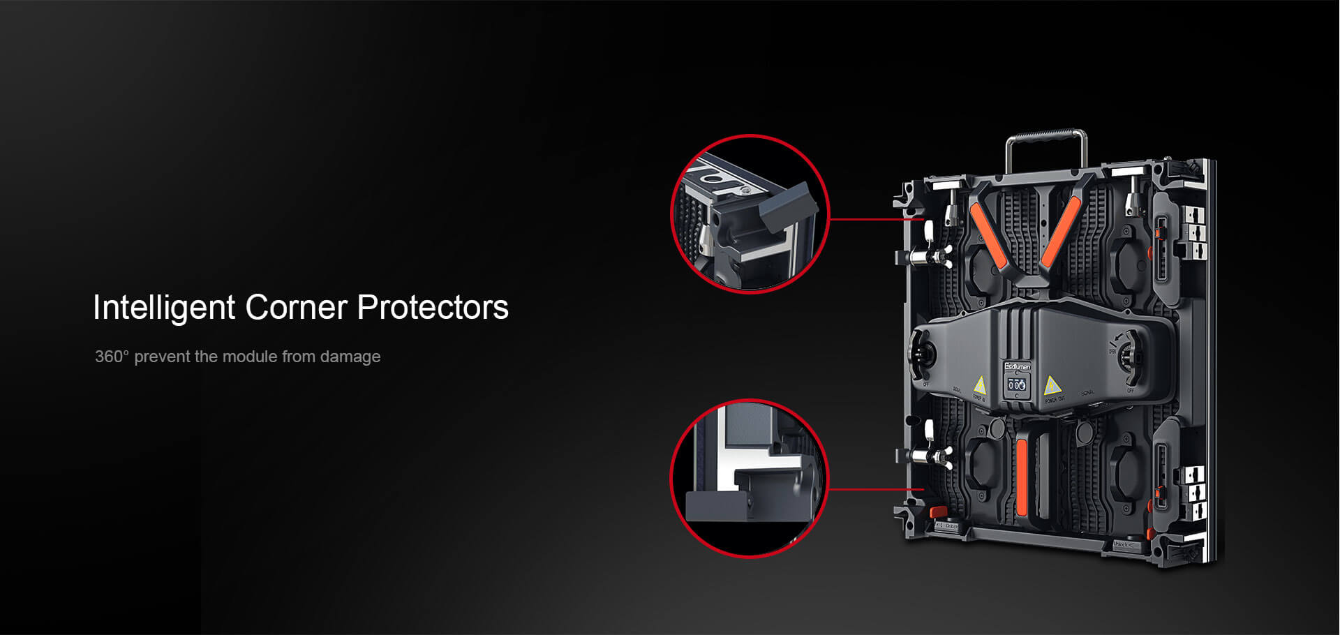 led cabinet with corner protector